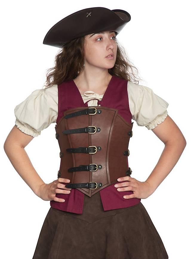 Femme Corset De En Pirate L'air Cuir 5A4jLR